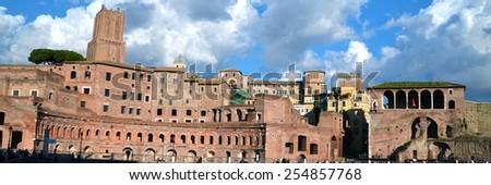 Ruins of Trajan's Forum in Rome, Italy - stock photo