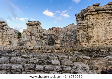 Ruins of Tulum,  Pre-Columbian Maya walled city serving as a major port for Coba, Yacatan, Mexico - stock photo