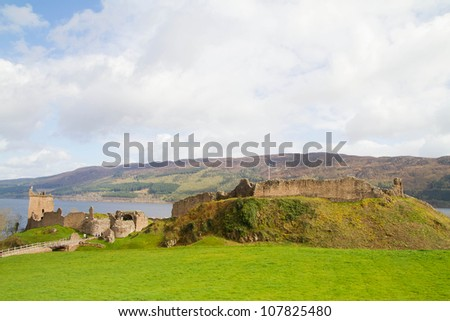 Ruins of Urquhart Castle at Loch Ness Inverness Highlands, Scotland UK - stock photo