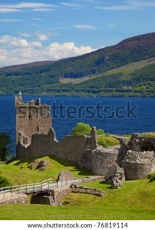 Ruins of Urquhart Castle near Loch Ness like - stock photo