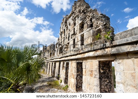 Ruins of Uxmal Mexico  la Colombaia (El Palomar) - stock photo