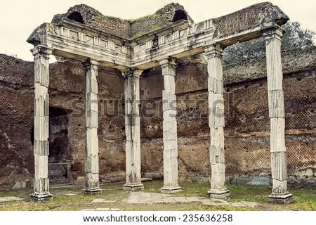 Ruins of Villa Adriana near Rome, Italy (cross processing) - stock photo