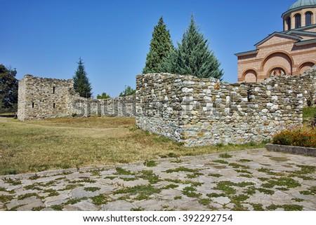 Ruins of wall of Medieval Monastery St. John the Baptist, Kardzhali,  Bulgaria - stock photo