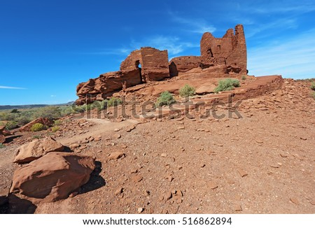 Ruins of Wukoki pueblo in Wupatki National Monument north of Flagstaff, Arizona