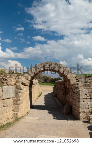 Ruins on ancient Olympia, Greece. - stock photo