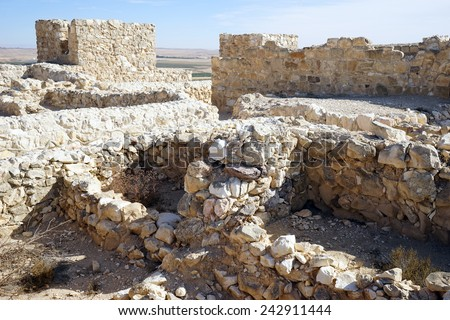 Ruins on the top of Tel Arad in Isrsel                                - stock photo