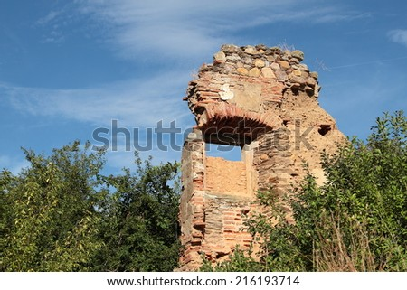 Ruins Royal Monastery de Santa Maria de Nogales. San Esteban de Nogales, Leon. - stock photo