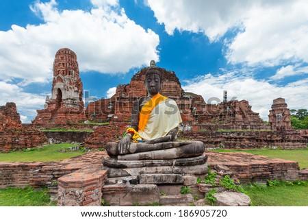 ruins statue buddha at Ayutthaya Historical Park, Thailand - stock photo