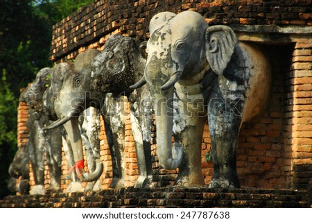 Ruins temple and of Sukhothai historical park - stock photo
