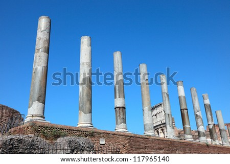 Ruins Temple of Venus and Roma, Roman Forum, Rome, Italy - stock photo