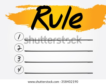 Rule Blank List, business concept background