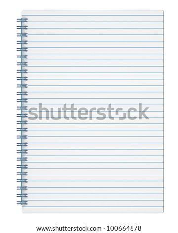 Ruled exercise book isolated on white background with clipping path