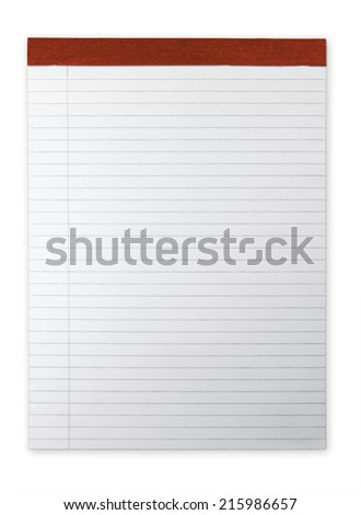 Ruled Notepad or memo pad with highlight isolated on white. Red spine.
