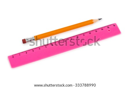 Ruler and pencil isolated on white background - stock photo