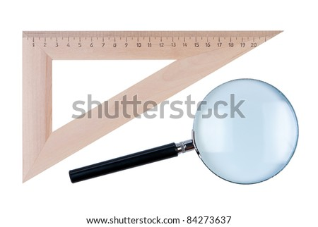Ruler angle and magnifier isolate on white background. - stock photo