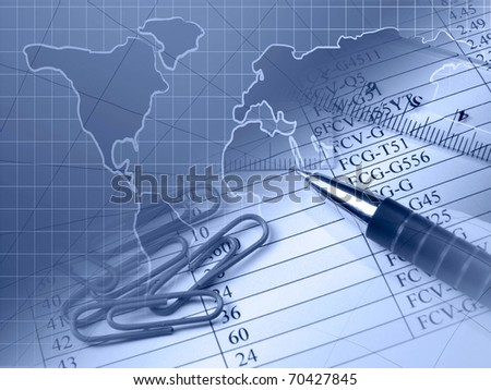 Ruler, pen and paper-clips against the table. - stock photo