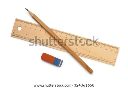 Ruler, pencil and eraser isolated on white - stock photo