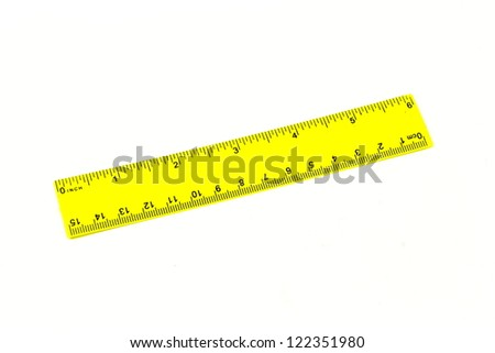 Ruler school for measurement of distances in inches and centimeters