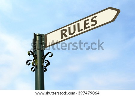 RULES WORD ON ROADSIGN - stock photo