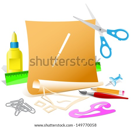 Ruling pen. Paper template. Raster illustration. - stock photo