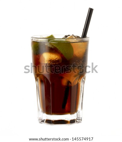 Rum Cocktail Cuba Libre with lime isolated on white background