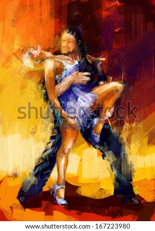 rumba dancers digital painting/rumba dancers - stock photo