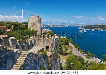 Rumeli Fortress at Istanbul Turkey - architecture background - stock photo
