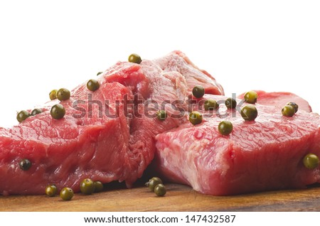 rump steak with green pepper and salad