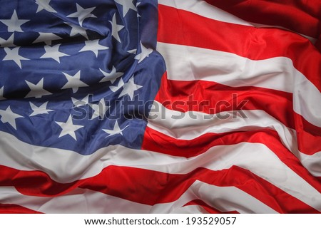 rumpled american flag close up