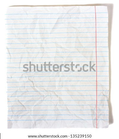 Rumpled lined sheet of paper isolated on white background - stock photo