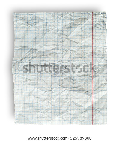 Rumpled page from school notebook into the cell isolated on a white background