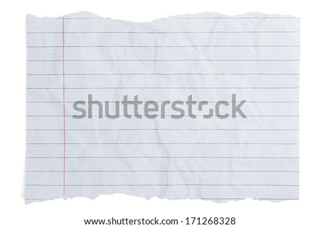 Rumpled sheet of lined paper or notebook paper - stock photo