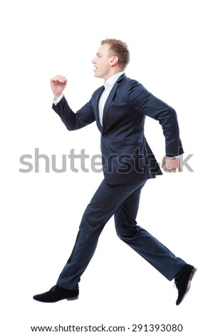 Run, businessman! Full length of running young man in formalwear isolated on white. - stock photo