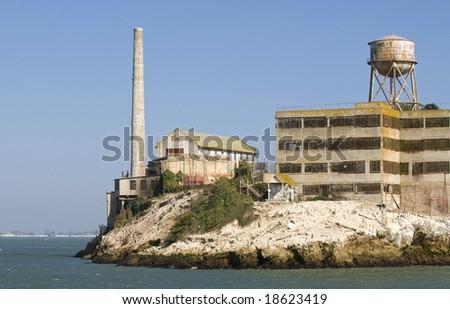 Run-down remains of Alcatraz prison in the San Francisco Bay California - stock photo