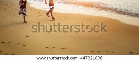 Run Exercise Beach Sport Coast Sprint Nature Concept - stock photo