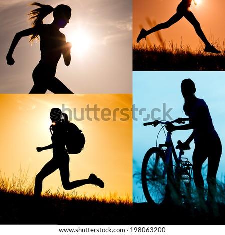 Run, fun, sun and bike collage. Active healthy life - stock photo