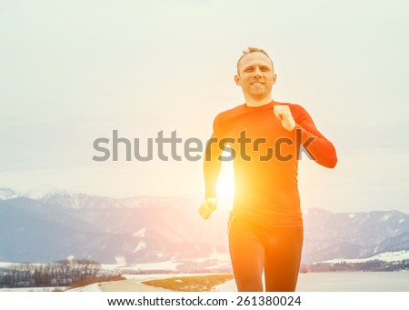 Run man portrait - stock photo