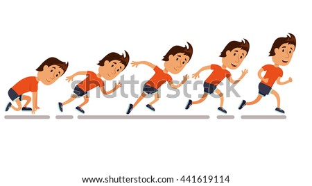 Run men. Running step sequence. Step by step storyboard. Animation. Jogging cartoon character. Sprint marathon. - stock photo