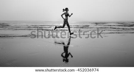 Run Sea Sand Sport Sprint Relax Exercise Beach Concept - stock photo