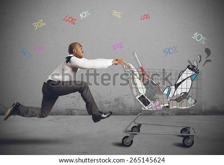 Run to go shopping looking for deals - stock photo