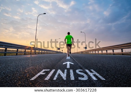 Run to the finish line - stock photo