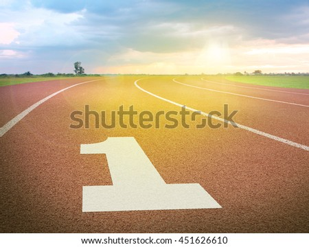 run track and number 1 - stock photo