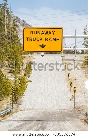 Runaway Truck Ramp Road Sign - stock photo