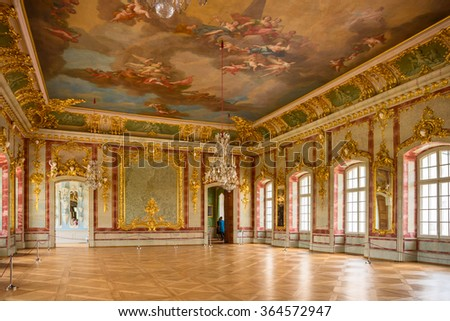 Rundale, Bausska, Latvia - August 25., 2015.; Interior of Rundale palace. This palace is one of the most outstanding monuments of Baroque and Rococo art in Latvia.