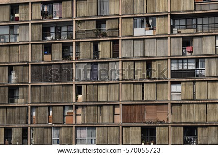 Rundown apartment building
