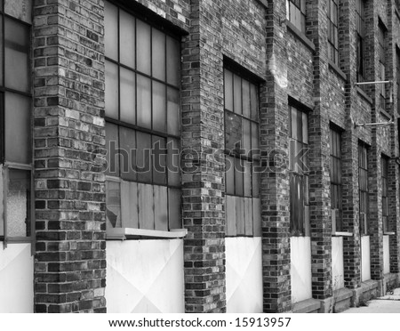 Rundown brick factory in black and white