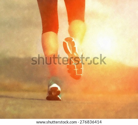 Runner athlete feet running on road under sunlight. Aquarelle art effect. - stock photo