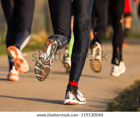 runner in a marathon competition - stock photo
