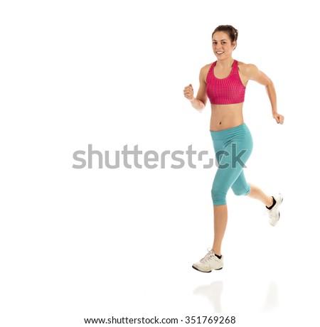 Runner jogging on white background - stock photo