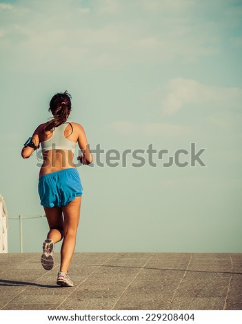 runner running - healthy lifestyle concept. vintage color - stock photo